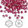 Bead, Swarovski crystal, ruby, 4mm Xilion bicone (5328). Sold per pkg of 144 (1 gross).