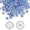 Bead, Swarovski crystal, sapphire, 4mm Xilion bicone (5328). Sold per pkg of 48.