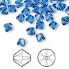 Bead, Swarovski crystal, sapphire, 6mm Xilion bicone (5328). Sold per pkg of 144 (1 gross).