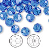 Bead, Swarovski crystal, sapphire, 8mm faceted round (5000). Sold per pkg of 288 (2 gross).