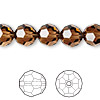 Bead, Swarovski crystal, smoked topaz, 10mm faceted round (5000). Sold per pkg of 24.