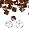 Bead, Swarovski crystal, smoked topaz, 8mm Xilion bicone (5328). Sold per pkg of 72.