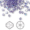 Bead, Swarovski crystal, tanzanite AB, 4mm Xilion bicone (5328). Sold per pkg of 1,440 (10 gross).