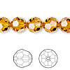 Bead, Swarovski crystal, topaz, 10mm faceted round (5000). Sold per pkg of 24.
