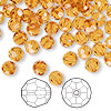 Bead, Swarovski crystal, topaz, 6mm faceted round (5000). Sold per pkg of 144 (1 gross).