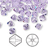 Bead, Swarovski crystal, violet, 6mm Xilion bicone (5328). Sold per pkg of 144 (1 gross).