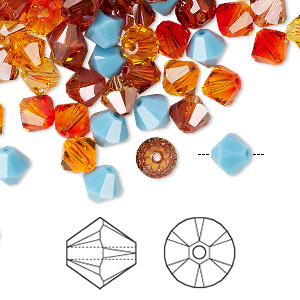 Bead, Swarovski® crystals, Crystal Passions®, Sonoran, 6mm Xilion bicone (5328) and faceted bicone (5301). Sold per pkg of 144 (1 gross).