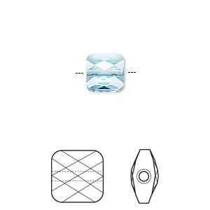 Bead, Swarovski® crystals, Crystal Passions®, aquamarine, 8x8mm faceted mini square (5053). Sold per pkg of 2.