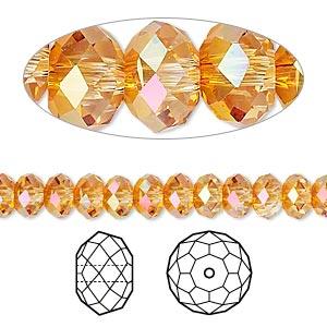 Bead, Swarovski® crystals, Crystal Passions®, crystal astral pink, 6x4mm faceted rondelle (5040). Sold per pkg of 12.