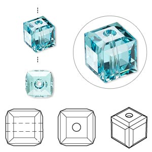 Bead, Swarovski® crystals, Crystal Passions®, light turquoise, 8x8mm faceted cube (5601). Sold per pkg of 6.