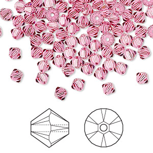 Bead, Swarovski® crystals, rose, 4mm Xilion bicone (5328). Sold per pkg of 48.