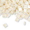 Bead, Tila®, glass, opaque ceylon antique ivory pearl, (TL592), 5x5mm square with (2) 0.8mm holes. Sold per 10-gram pkg.