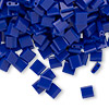 Bead, Tila®, glass, opaque cobalt, (TL414), 5x5mm square with (2) 0.8mm holes. Sold per 40-gram pkg.