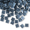 Bead, Tila®, glass, opaque matte gunmetal blue, (TL2001), 5x5mm square with (2) 0.8mm holes. Sold per 40-gram pkg.