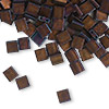 Bead, Tila®, glass, opaque matte metallic dark raspberry, (TL2005), 5x5mm square with (2) 0.8mm holes. Sold per 40-gram pkg.