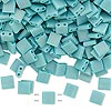 Bead, Tila®, glass, opaque matte rainbow mint green, (TL412FR), 5x5mm square with (2) 0.8mm holes. Sold per 40-gram pkg.