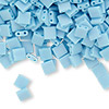 Bead, Tila®, glass, opaque matte rainbow robin's egg blue, (TL413FR), 5x5mm square with (2) 0.8mm holes. Sold per 40-gram pkg.