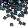 Bead, Tila®, glass, opaque metallic iris blue, (TL455), 5x5mm square with (2) 0.8mm holes. Sold per 40-gram pkg.