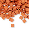 Bead, Tila®, glass, opaque satin matte dark orange, (TL2315), 5x5mm square with (2) 0.8mm holes. Sold per 10-gram pkg.