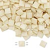 Bead, Tila®, glass, opaque satin matte ivory, (TL2021), 5x5mm square with (2) 0.8mm holes. Sold per 40-gram pkg.