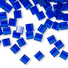 Bead, Tila®, glass, transparent blueberry, (TL151), 5x5mm square with (2) 0.8mm holes. Sold per 40-gram pkg.