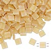 Bead, Tila®, glass, transparent matte rainbow light lemon, (TL132FR), 5x5mm square with (2) 0.8mm holes. Sold per 10-gram pkg.
