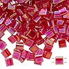 Bead, Tila®, glass, transparent rainbow strawberry, (TL254), 5x5mm square with (2) 0.8mm holes. Sold per 40-gram pkg.