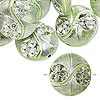 Bead, acrylic, green and silver, 19mm double-sided puffed flat round with line and circle design, 2mm hole. Sold per pkg of 24.