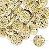 Bead, acrylic, ivory and gold, 18mm double-sided flat round with tic-tac-toe design, 2mm hole. Sold per pkg of 50.