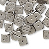 Bead, acrylic, opaque metallic silver, 11x11mm dice. Sold per pkg of 50.