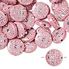 Bead, acrylic, pink and silver, 18mm double-sided flat round with tic-tac-toe design, 2mm hole. Sold per pkg of 50.