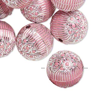 Bead, acrylic, pink and silver, 18mm round with flower and line design, 2.5mm hole. Sold per pkg of 24.