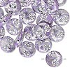 Bead, acrylic, purple and silver, 19mm double-sided puffed flat round with line and circle design, 2mm hole. Sold per pkg of 24.