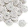 Bead, acrylic, white and silver, 18mm double-sided flat round with tic-tac-toe design, 2mm hole. Sold per pkg of 50.