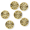 "Bead, antiqued gold-plated ""pewter"" (zinc-based alloy), 16mm double-sided filigree puffed flat round. Sold per pkg of 6."