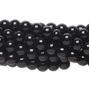Bead, black obsidian (natural), 6mm round, C grade, Mohs hardness 5 to 5-1/2. Sold per pkg of (10) 16-inch strands.