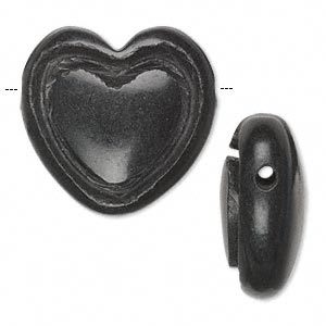 Bead, blackstone (natural), 28x26mm hand-cut top-drilled single-sided puffed heart with 2.5mm wide channel, C- grade, Mohs hardness 6-1/2 to 7. Sold individually.