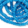 Bead, bone (dyed), turquoise blue, 6mm disc. Sold per 36-inch strand.