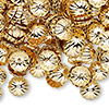 Bead cap, gold-plated brass, 9x2mm ribbed round, fits 9-11mm bead. Sold per pkg of 1,000.