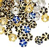 Bead cap mix, cloisonné, enamel / gold-plated / silver-finished copper, mixed colors, 7x7mm flower, fits 6-8mm bead. Sold per pkg of 100.