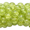 Bead, crackle glass, lime green, 8-9mm round. Sold per pkg of ten 15-inch strands.