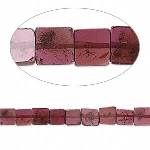 Bead, garnet (dyed), 5x2mm hand-cut flat square, B grade, Mohs hardness 7 to 7-1/2. Sold per 16-inch strand.