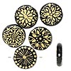 Bead, glass, opaque black and gold color, 25-27mm flat round with assorted designs. Sold per pkg of 6.