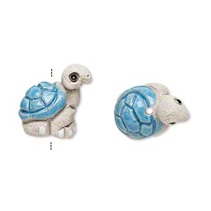 Bead, glazed ceramic, multicolored, 18x14mm hand-painted turtle. Sold per pkg of 2.