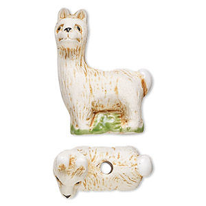 Bead, glazed ceramic, multicolored, 21x15mm hand-painted llama. Sold per pkg of 2.
