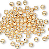 Bead, gold-plated brass, 4mm corrugated round. Sold per pkg of 1,000.
