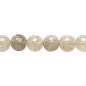 Bead, golden rutilated quartz (natural), 7-9mm hand-cut round, C- grade, Mohs hardness 7. Sold per 14-inch strand.