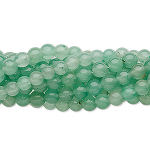 Bead, green aventurine (natural), 4mm round, C grade, Mohs hardness 7. Sold per pkg of (10) 16-inch strands.