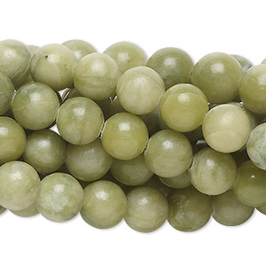 Bead, green serpentine (natural), 8mm round, C grade, Mohs hardness 2-1/2 to 6. Sold per pkg of (10) 16-inch strands.