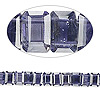 Bead, iolite (natural), 6x4mm hand-faceted double-drilled emerald-cut, B grade, Mohs hardness 7 to 7-1/2. Sold per pkg of 10.
